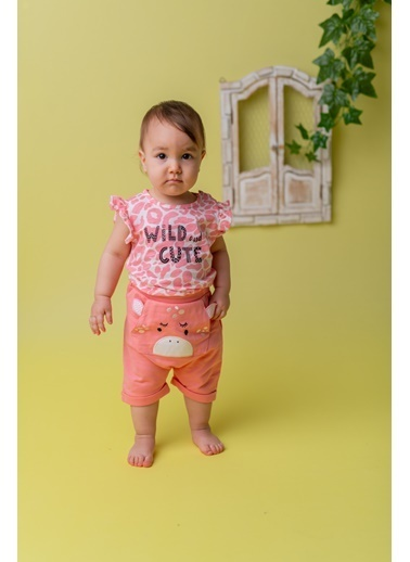 Mininio Pembe Wild and Cute T-Shirt ve şort Takım (3-18ay) Pembe Wild and Cute T-Shirt ve şort Takım (3-18ay) Pembe